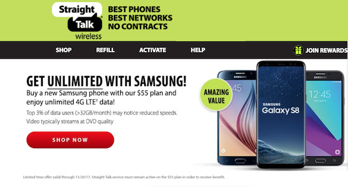 Straight Talk $55 Unlimited Plan with Samsung