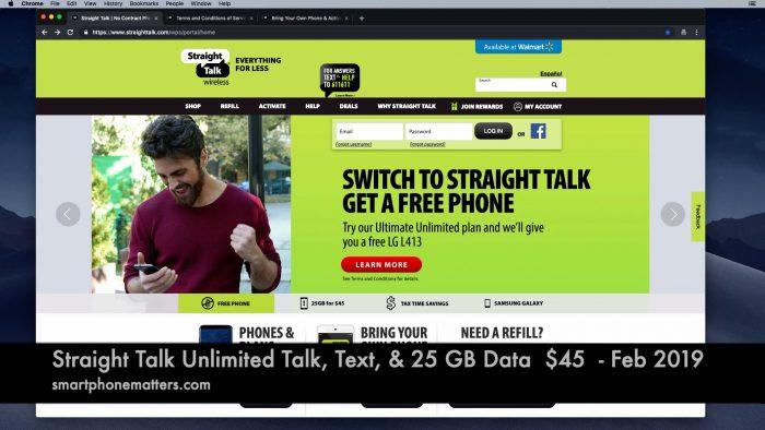 Straight Talk Unlimited Talk, Text, & 25 GB Data for $45